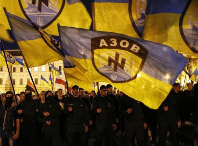 "Soldiers of Ukrainian self-defence battalion ""Azov"" take part in a procession to mark the Day of Ukrainian Cossacks to honour the role of the movement in Ukraine's history, in Kiev"