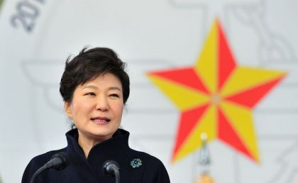South Korean President Park Geun-hye speaks during a joint commissioning ceremony for 5,860 new officers from the Army, Navy, Air Force and Marines at the military headquarters in Gyeryong, south of Seoul March 6, 2014. REUTERS/Jung Yeon-je/Pool (SOUTH KOREA - Tags: MILITARY POLITICS PROFILE)