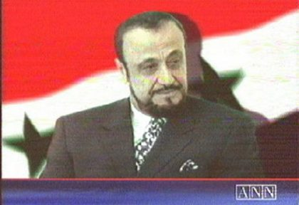 "A TV grab shows a photo of Rifaat al-Assad, the exiled brother of Syria's late Preisdent Hafez al-Assad, as it appeared 12  June 2000 on the London-based Arab News Network (ANN) television station,  which belongs to his son Sumer. ANN said it would broadcast a ""statement"" by Rifaat, 63, in which he addresses the nation. Earlier, his spokesman told the BBC Arabic service that he  considers himself the legitimate successor to Syria's presidency. / AFP PHOTO"