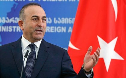 Turkey's Foreign Minister Mevlut Cavusoglu gestures during a news briefing in Tbilisi, Georgia, February 17, 2016. REUTERS/David Mdzinarishvili - RTX27BK7