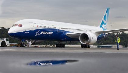 SEATTLE, WASHINGTON  - SEPTEMBER 17: A Boeing 787-9 Dreamliner taxis after concluding its first flight September 17, 2013 at Boeing Field in Seattle, Washington. The 787-9 is twenty feet longer than the original 787-8, can carry more passengers and more fuel. (Stephen Brashear/Getty Images)