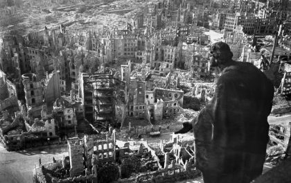 "(FILES) A photo taken from Dresden's townhall of the destroyed old town of the historic city after the allied bombings in February 1945. Germany will on February 13, 2014 mark 70 years since Dresden's WWII bombing. President Joachim Gauck will attend commemorations in the eastern city's emblematic 18th Century Church of Our Lady, which was rebuilt after being reduced to rubble in the massive World War II raids. AFP PHOTO / SLUB DRESDEN DEUTSCHE FOTOTHEK/ WALTER HAHN  +++ RESTRICTED TO EDITORIAL USE - MANDATORY CREDIT ""AFP PHOTO / SLUB DRESDEN DEUTSCHE FOTOTHEK/ WALTER HAHN"" - NO MARKETING NO ADVERTISING CAMPAIGNS - DISTRIBUTED AS A SERVICE TO CLIENTSWALTER HAHN/AFP/Getty Images"